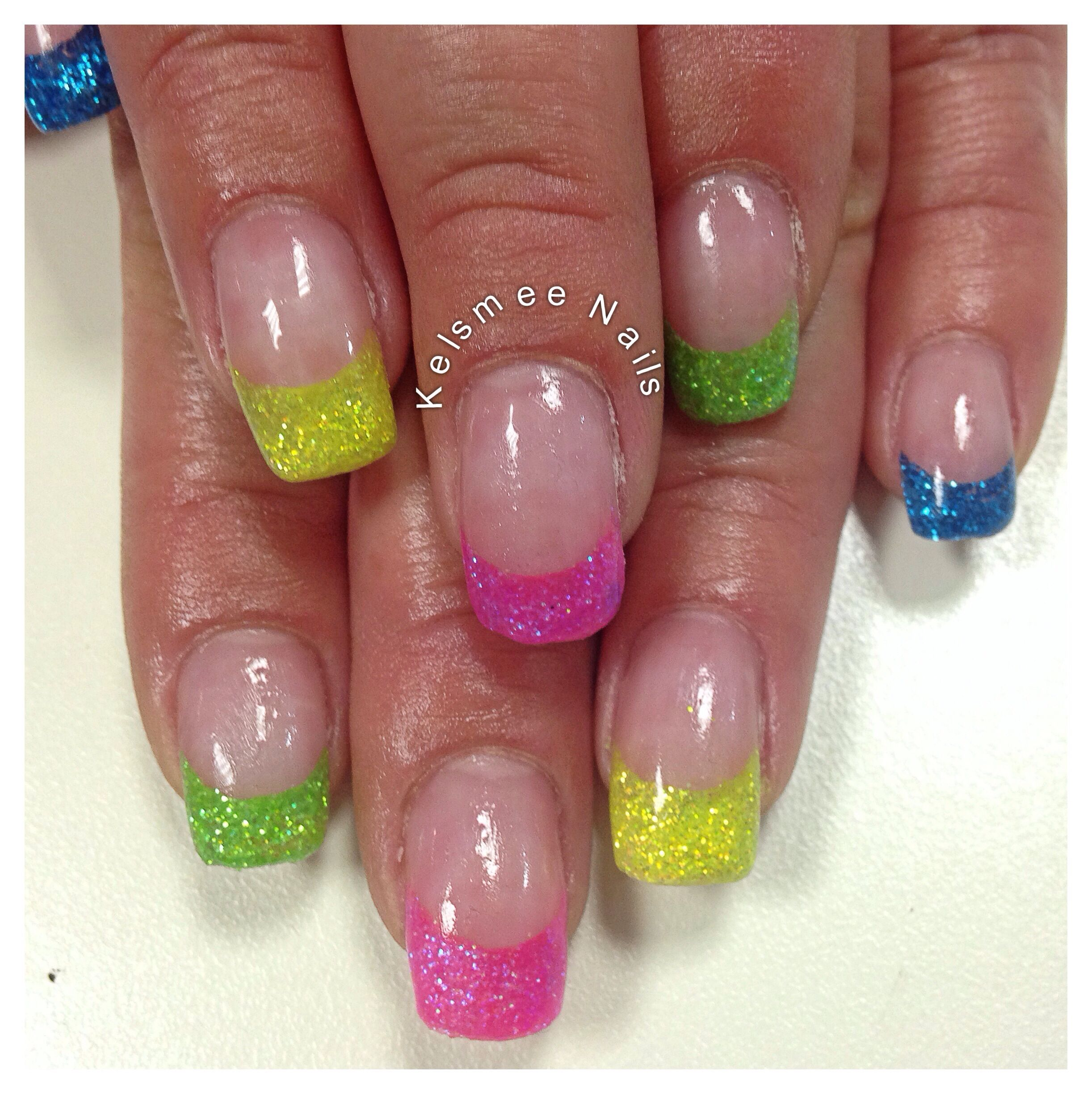 Young Nails French neon glitter | French nails, Nails ...