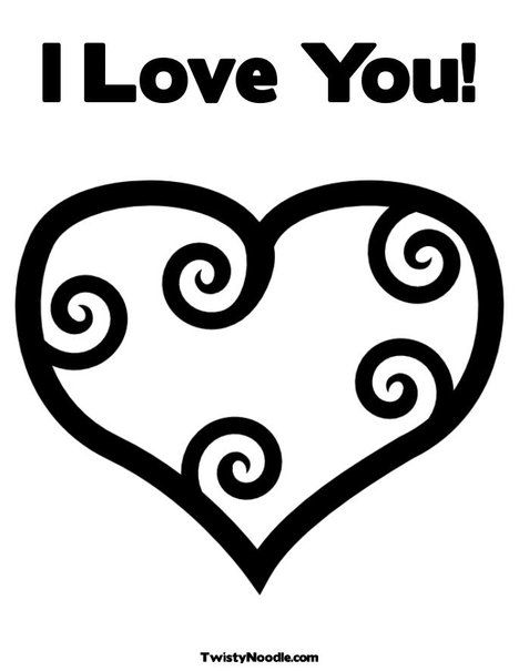 I Love You! Coloring Page from TwistyNoodle.com | Valentine\'s Day ...