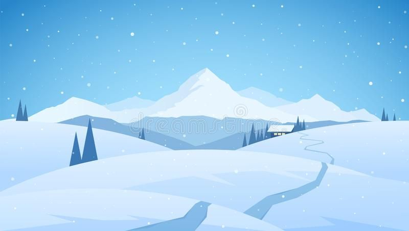 Winter Snowy Mountains Flat Landscape With Path To Cartoon House Christmas Back Sponsored Paid Spons Landscape Background Cartoon House Winter Landscape