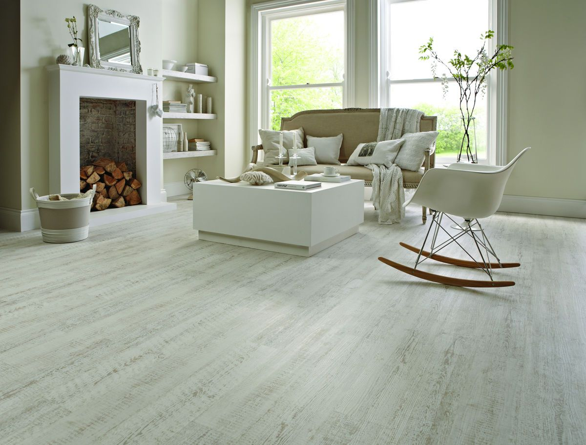 Karndean KP105 White Painted Oak Knight Tile Vinyl Flooring Features A  Chalky White Painted Wood Effect