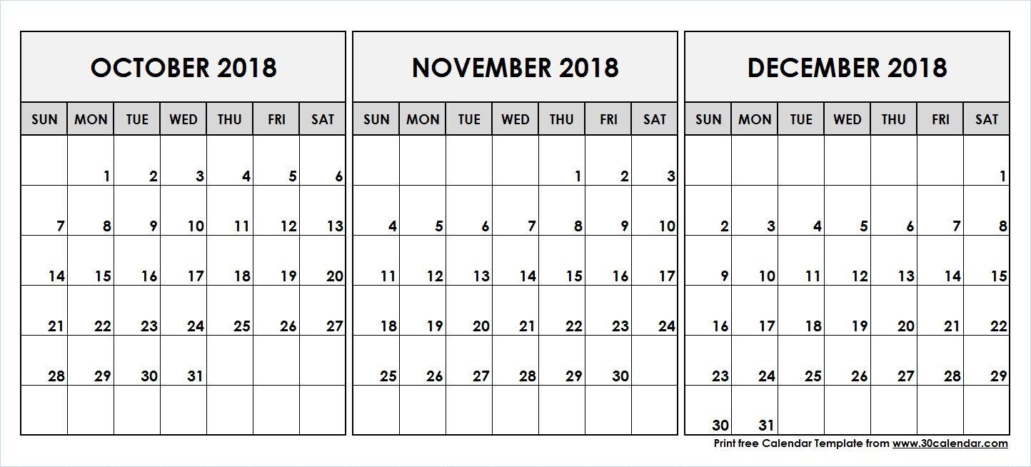 October November December 2018 Printable Calendar 2018 Calendar