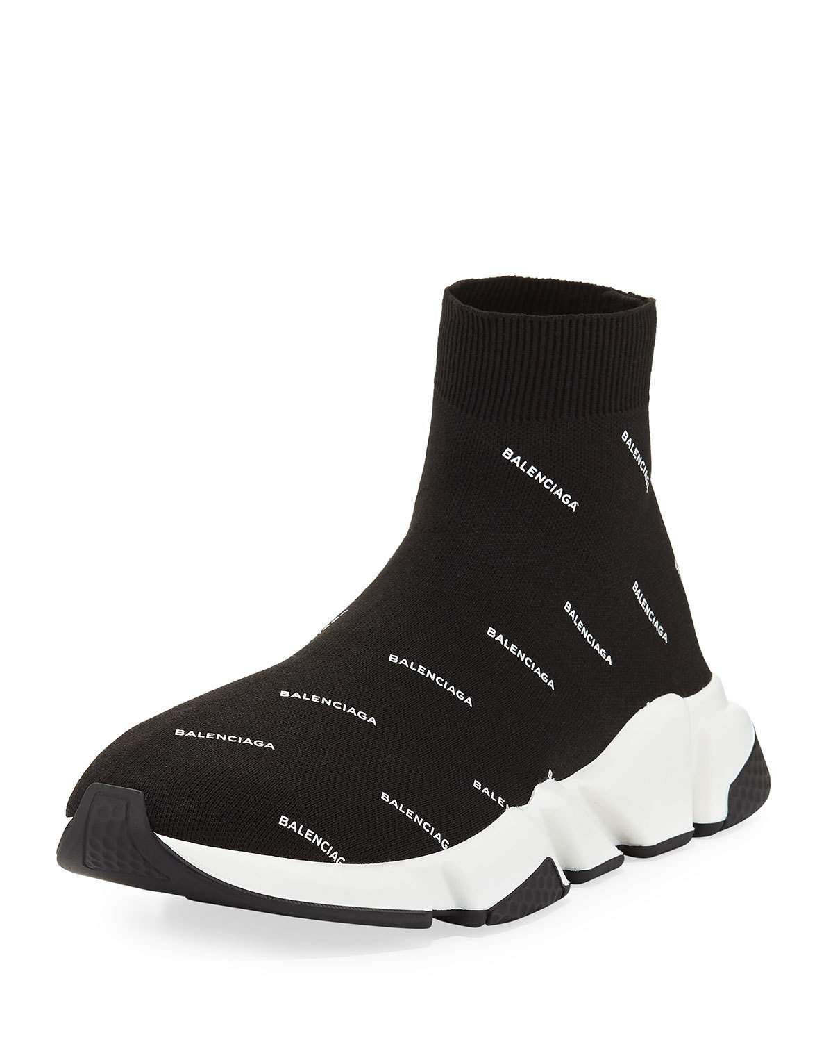 Balenciaga Speed Signature Mid Top Trainer Sock Sneaker With