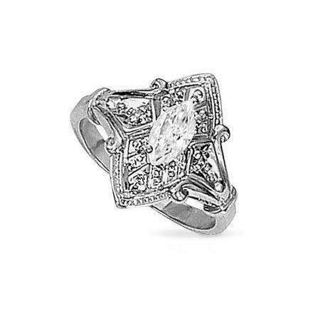 Brunhilde - 0.55ctw Marquise Cut Moissanite Ring, 14k White or Yellow Gold - Moissanite Gems | Moissanite Jewelry | Forever Brilliant ®