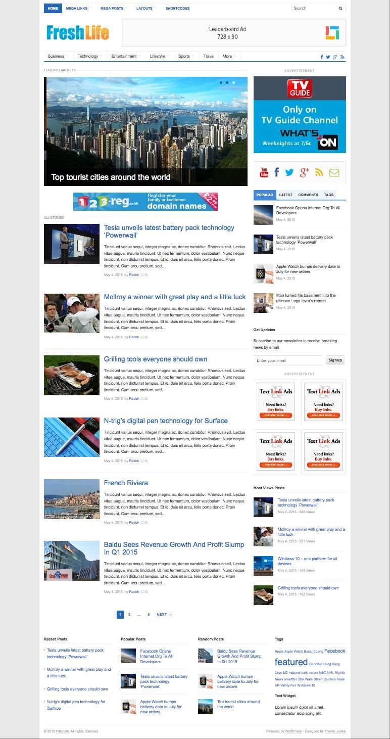 Freshlife 30 Wordpress Theme For Magazine Blogs Pinterest