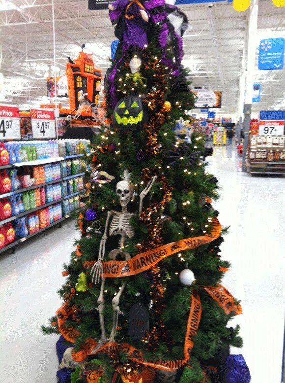 Store display Halloween Tree looks like Walmart