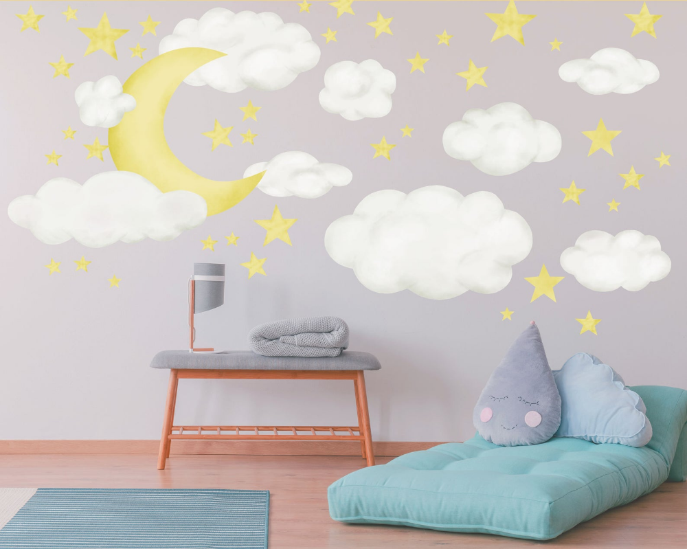Moon Clouds Stars Nursery Wall Decal Night Sky Reusable Fabric Wall Decals For Baby Room Decor Perfect For Baby Shower Decoration Wb1618 Nursery Wall Decals Childrens Wall Decor Baby Room