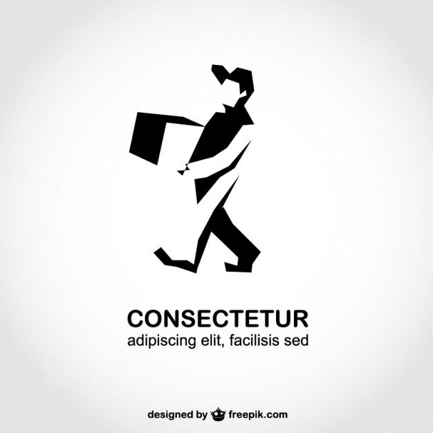 man silhouette delivery logo template vector free download