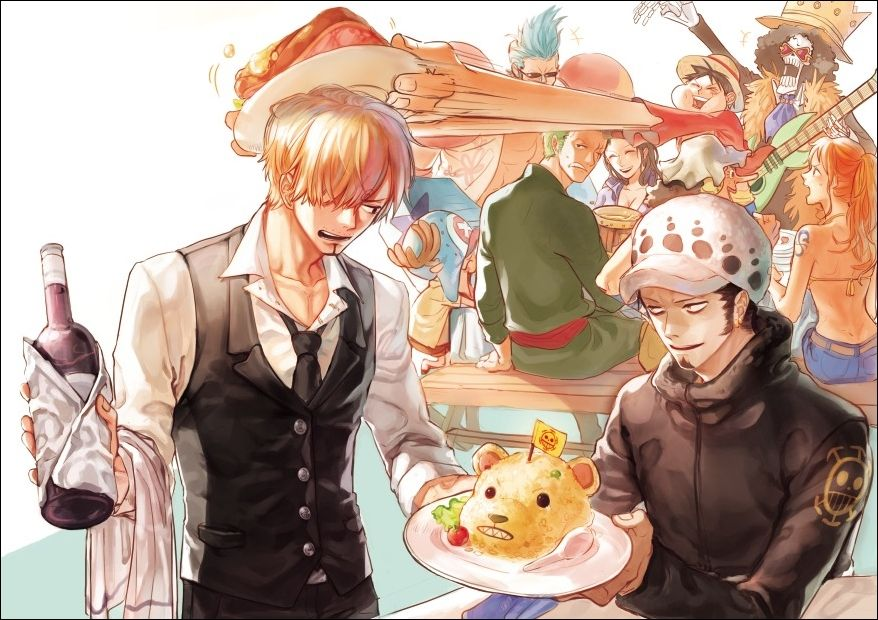 LOOK AT ZORO'S JELLY FACE! THAT HE'S SERVING LAW INSTEAD OF HIM!