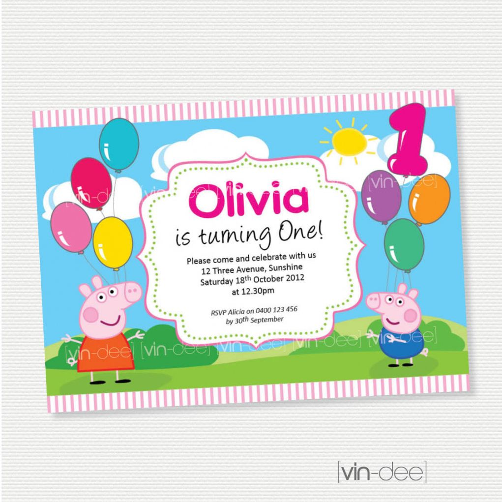 Peppa Pig 1St Birthday Invitations QHD