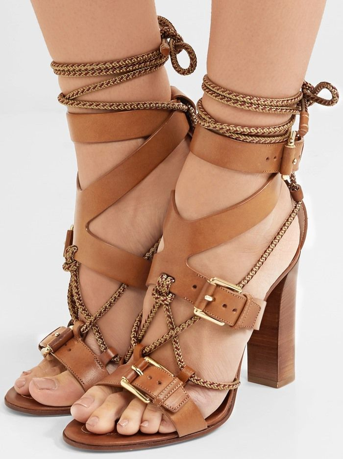 95c2c789e32 Etro Rope-Trimmed Leather Sandals | High Heels and Women's Shoes ...