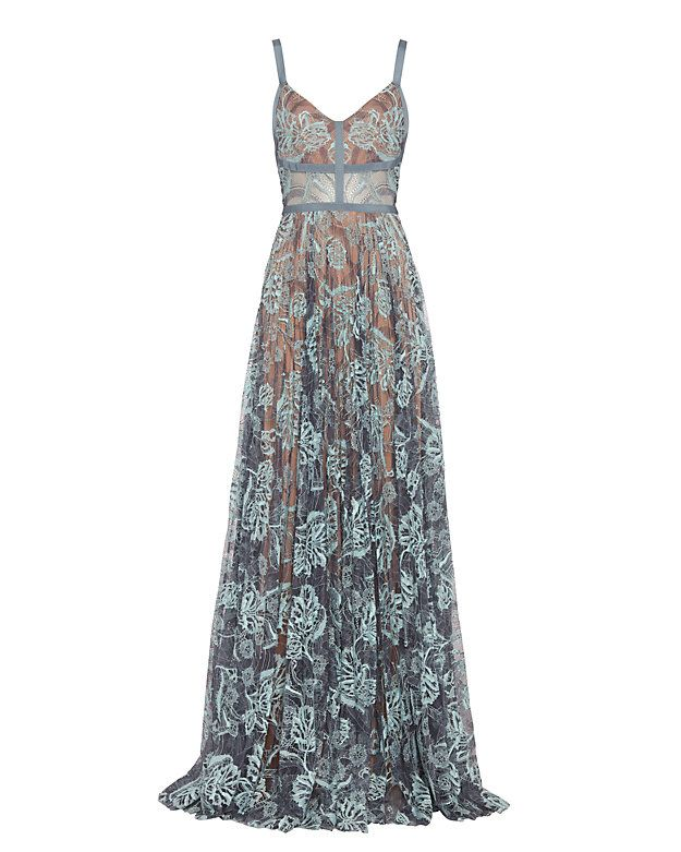 Alexis Isabella Lace Gown: This all over embroidery lace gown features a V-neckline with sheer panels at the waist on a pleated floor length silhouette. Hidden back zip. Semi sheer. Lined. In baby blue. Fabric: 51.5% nylon/48.5% cotton Lining: 100% polyester Made in China. Model ...