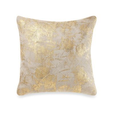 cotton foil throw pillow in gold bedbathandbeyondcom o longer available for sale online - Gold Decorative Pillows