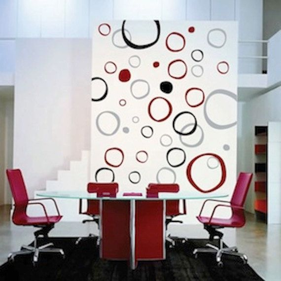 Modern Rings Wall Decals, Rings and dots wall decal, Vinyl Stickers