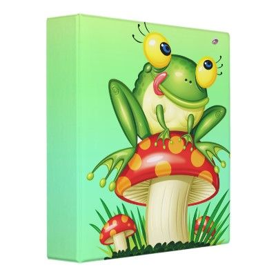 cute froggy on toadstool 3 ring binders