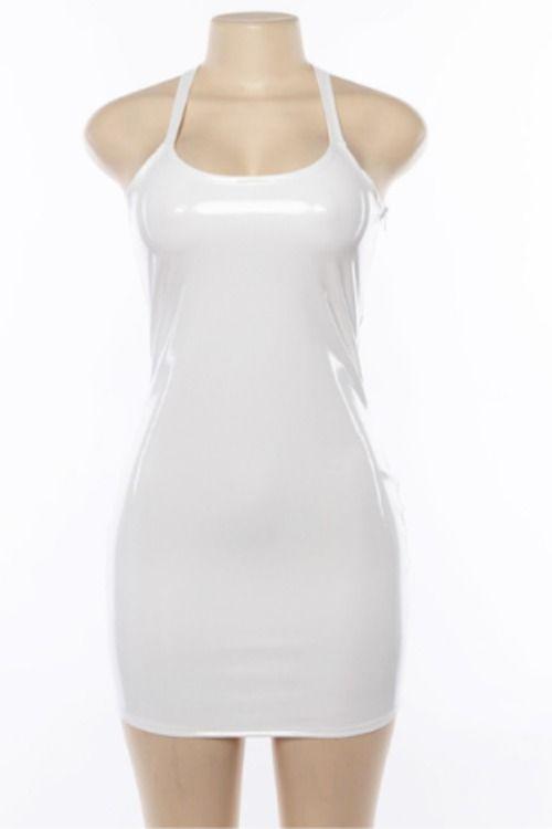 282222dd640 Black   White PU Latex Vinyl Mini Bodycon Dress Celeb Kylie Jenner Party