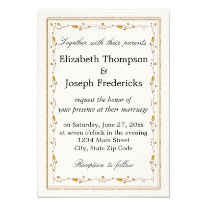 Elegant Gold Vine Border Wedding Card