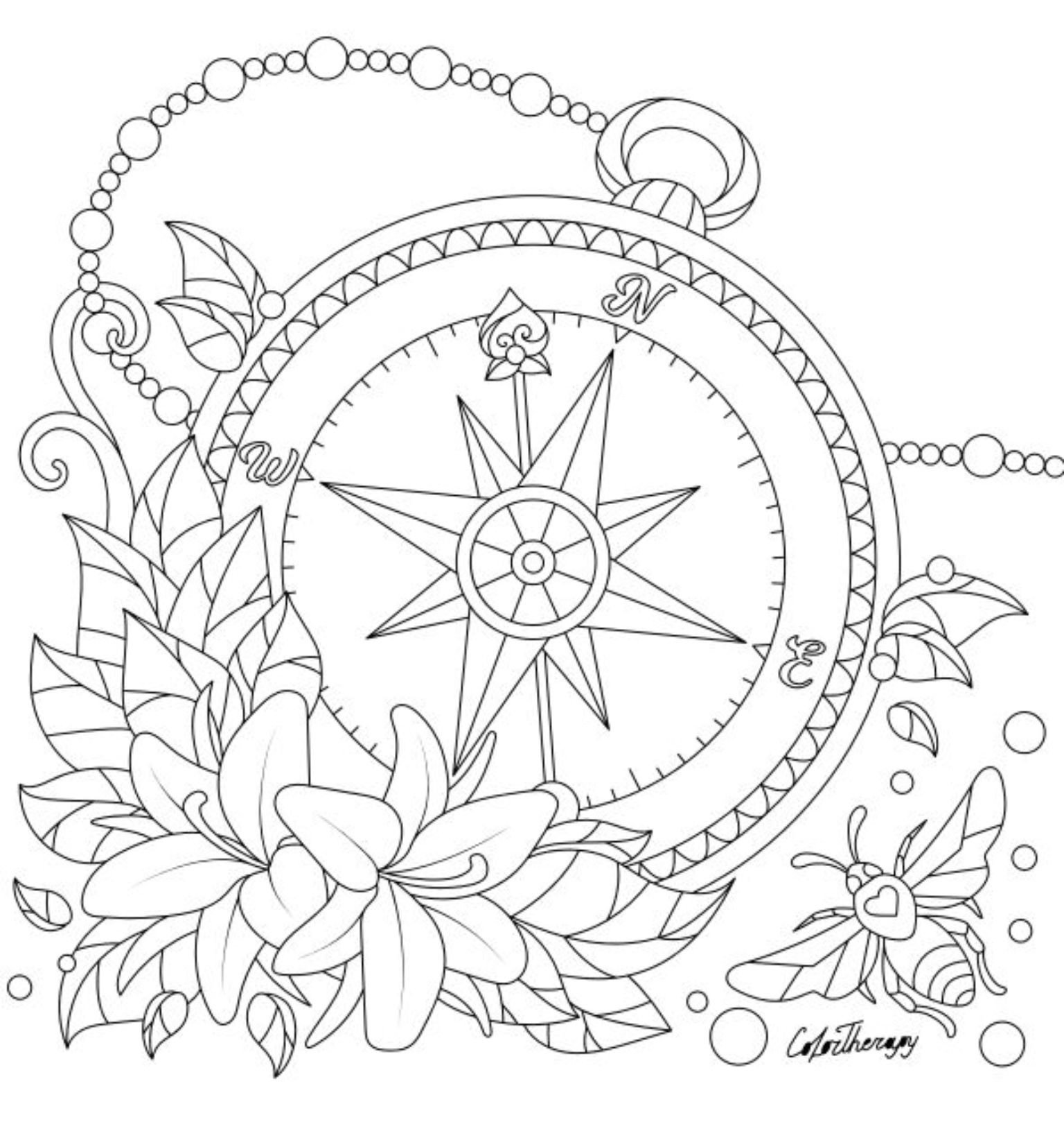 Compass Coloring Page Coloring Pages Mandala Coloring Pages Coloring Books
