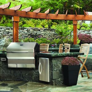 Just Thought The Arbor In This Picture Was Cool Outdoor Kitchen Not Too Bad Either Although A Pellet Grill Outdoor Wood Pellet Grills Backyard