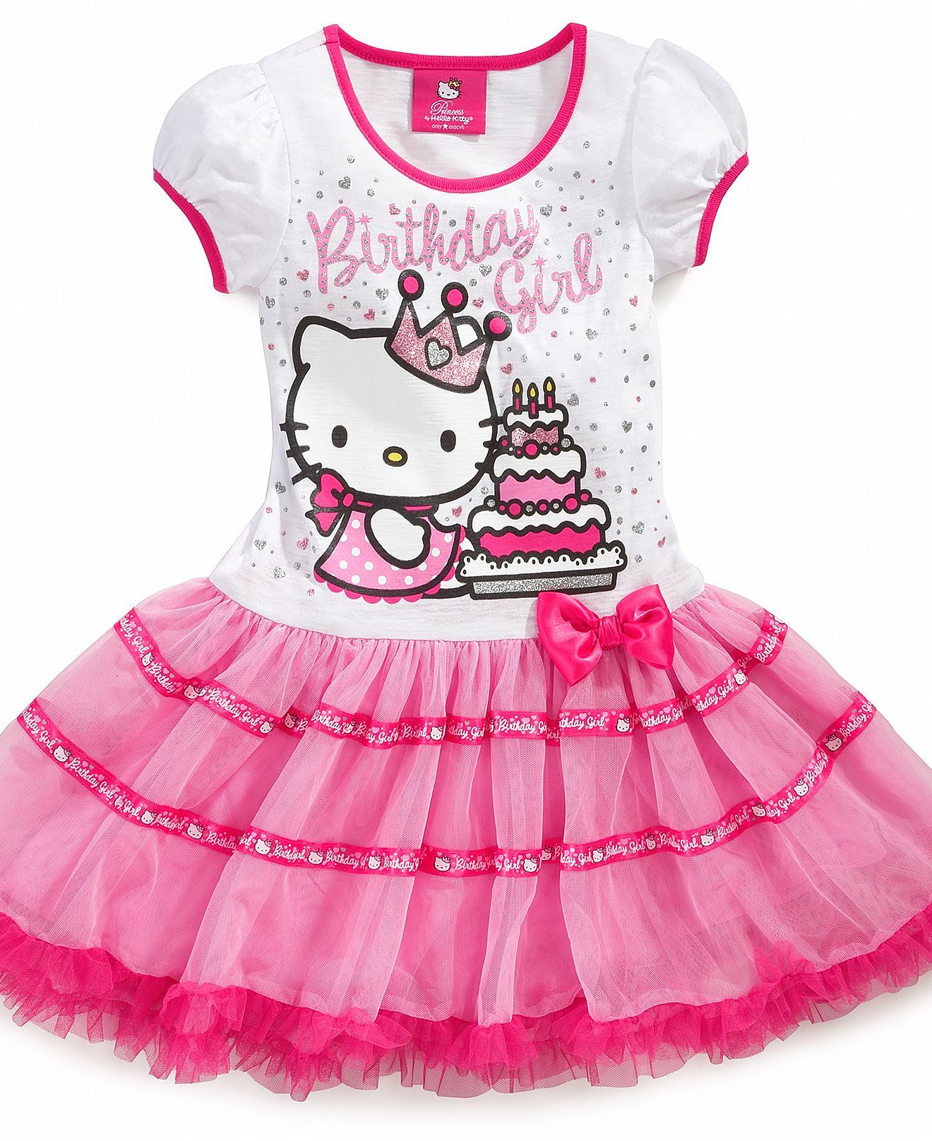 "NEW  Princess/""hello kitty/"" printed Tutu Birthday Party dresses 1-4Yrs"
