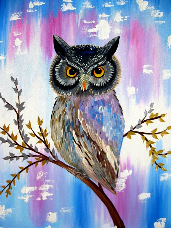 Owl Art Gift Painting On Canvas Paintingpaintings