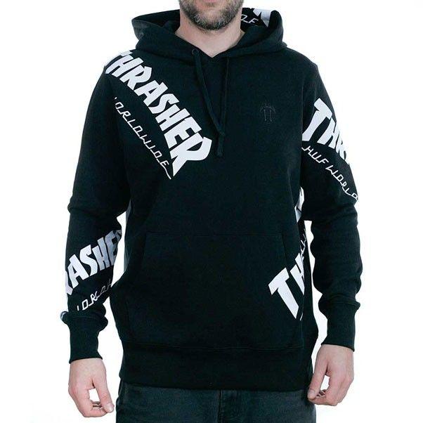 37c4ae492540 Huf x Thrasher Tour De Stoops All Over Hooded Sweatshirt Black ...