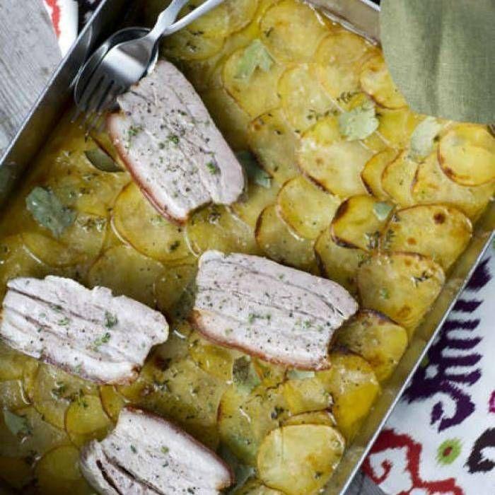 Fläsksida och potatis på bagarhustruns vis