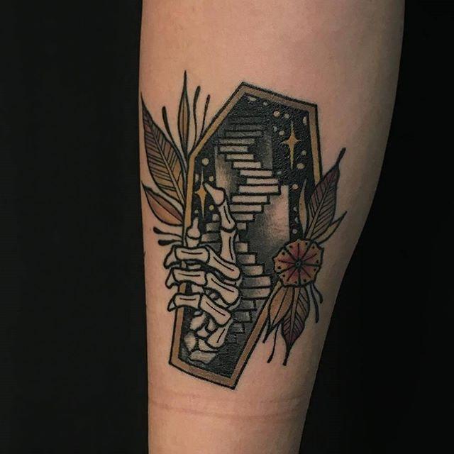 Casket Stairway Tattoo By Friedrichuebler At Clownfish
