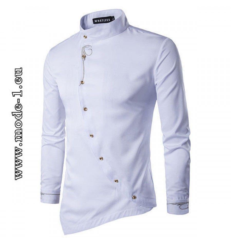 Langarm herren hemd mit stehkragen in weiß maglie pinterest