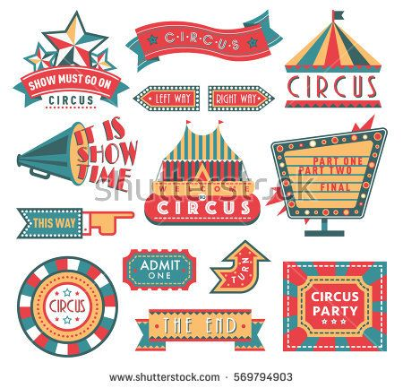 Circus Vintage Labels Banner Vector Illustration Isolated On White Tent And Ad