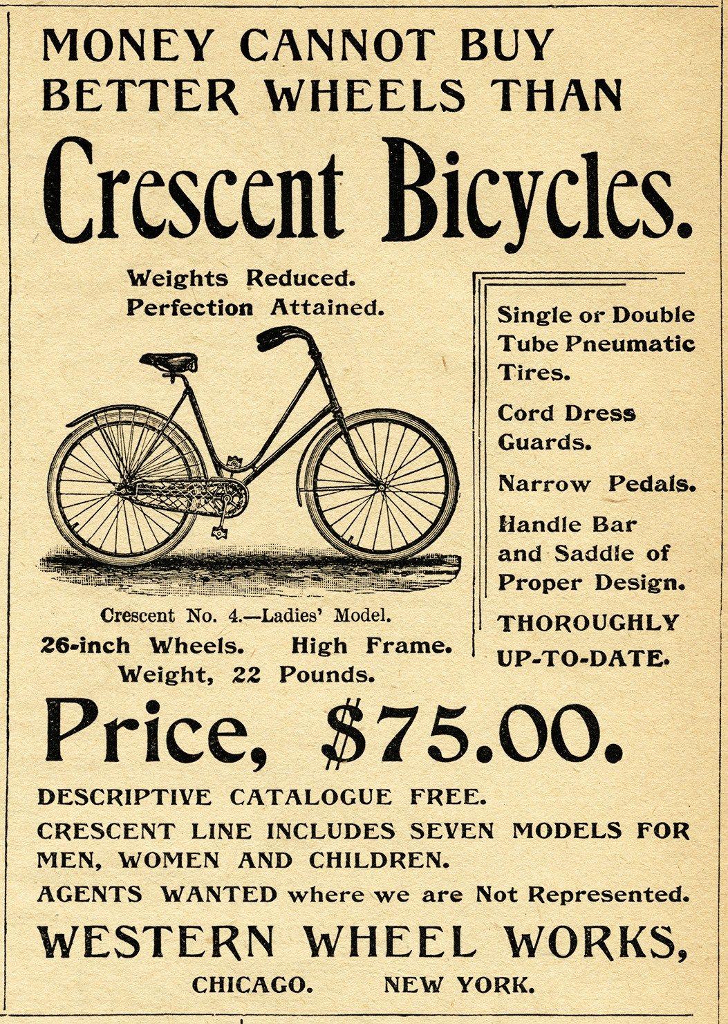 crescent bicycle magazine ad, old fashioned bike image, free vintage ...