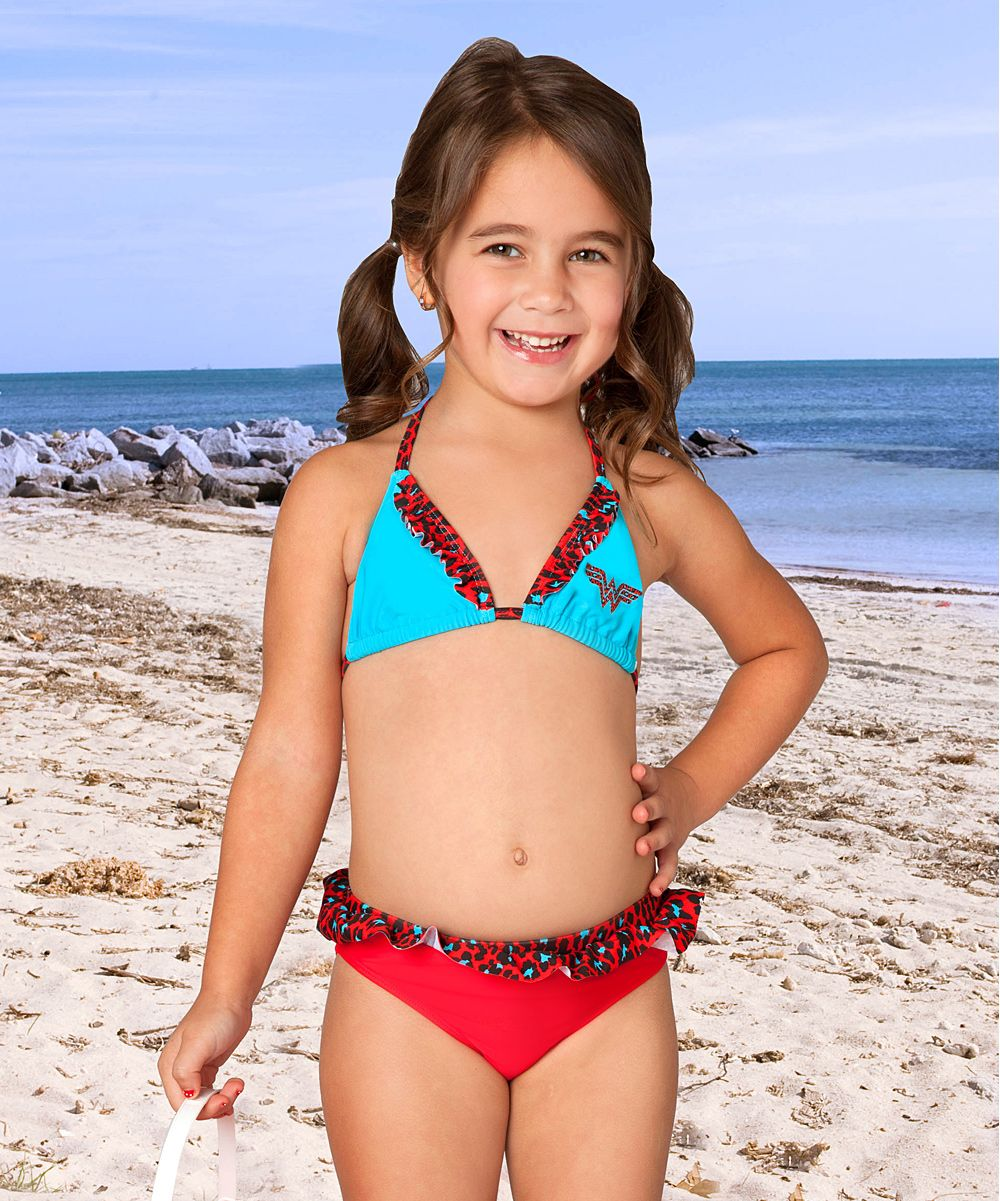 1132a26269 Blue   Red Wonder Woman Bikini - Kids