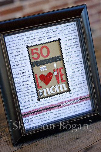 50 Reasons Frame Mom Birthday Gift 50th Birthday Gifts Moms