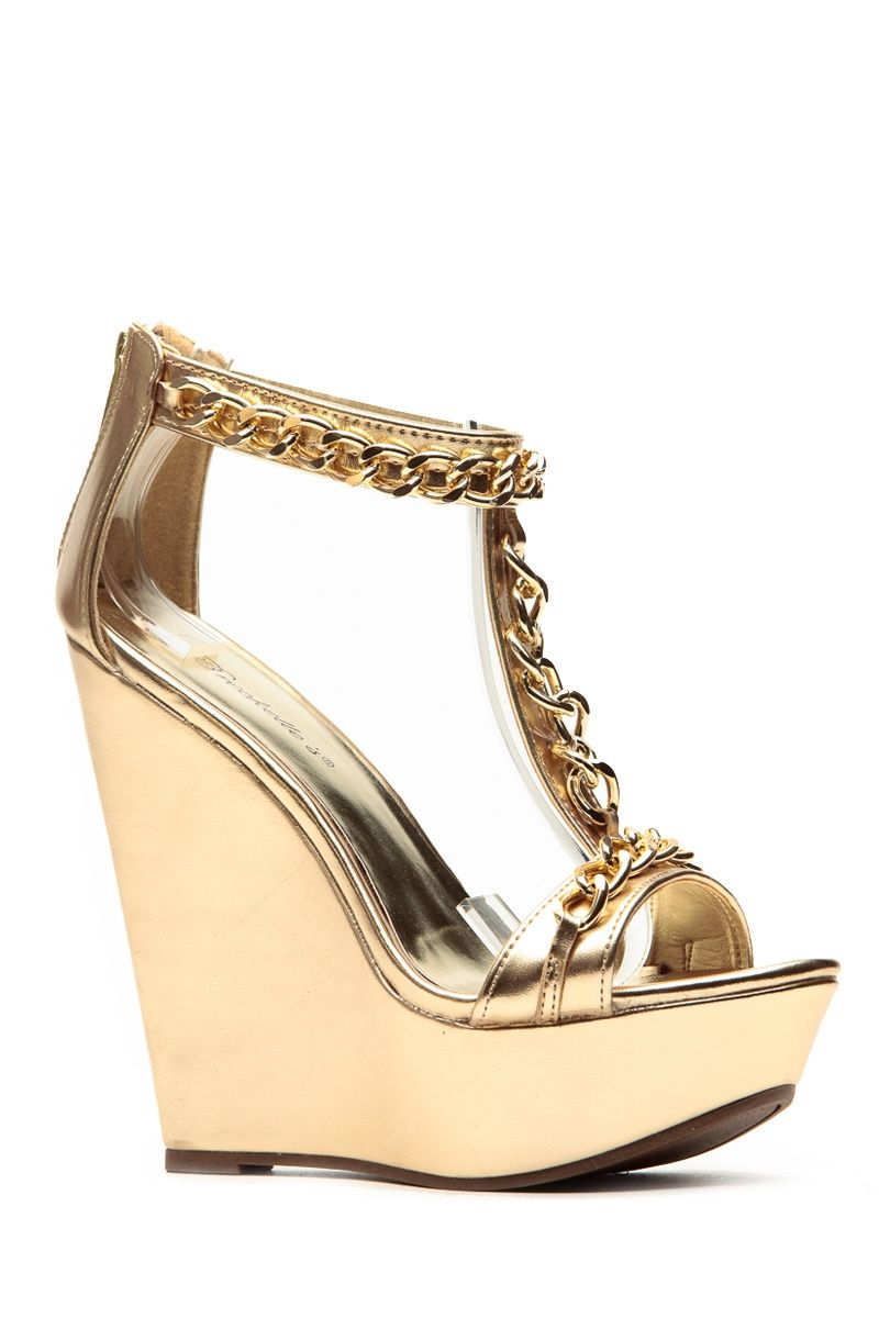 aa0009ce0 Breckelles Metallic Gold Chain Wedge   Cicihot Wedges Shoes Store Wedge  Shoes