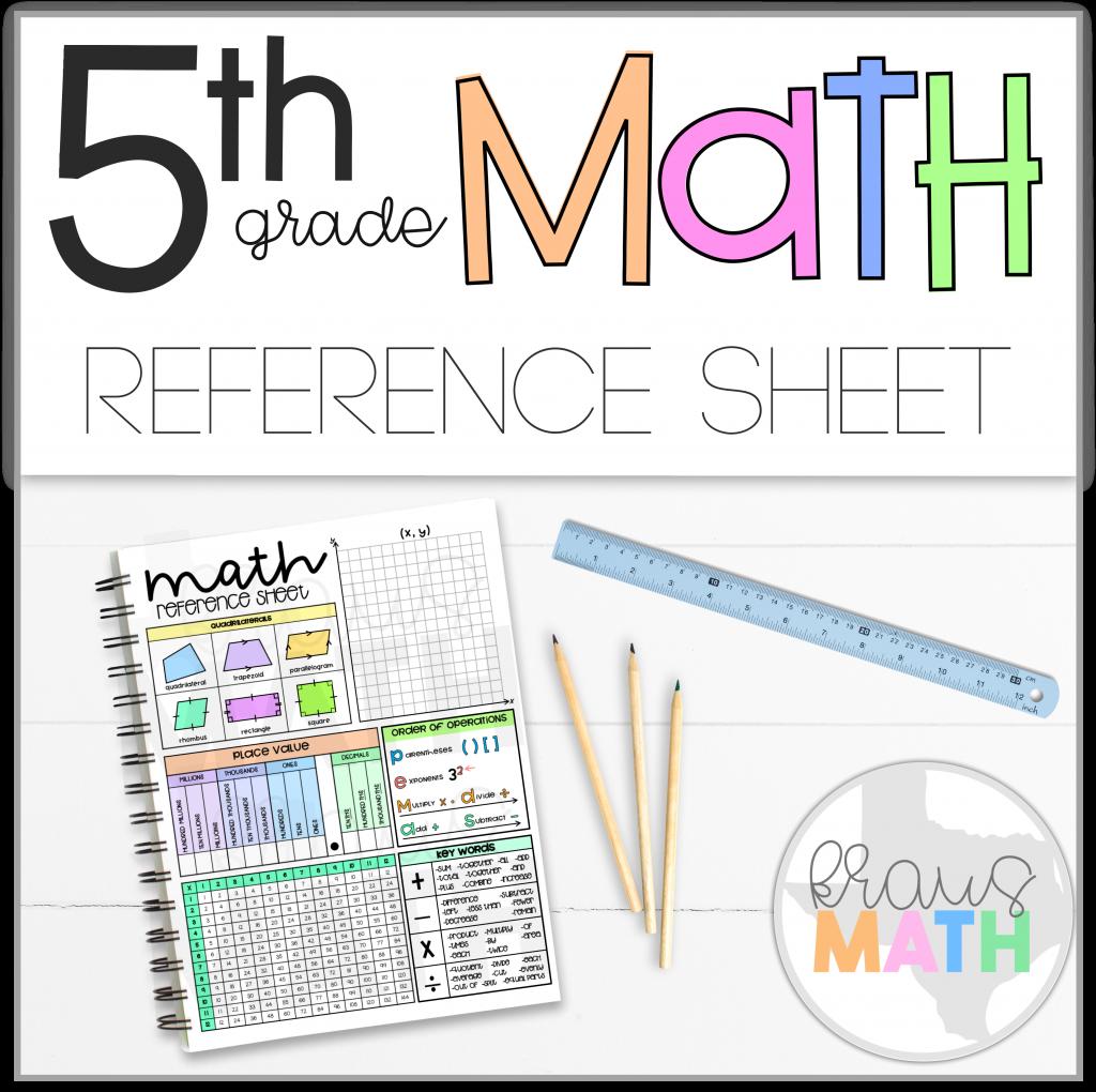 5th Grade Math Reference Sheet   Kraus Math   Math reference sheet [ 1020 x 1024 Pixel ]