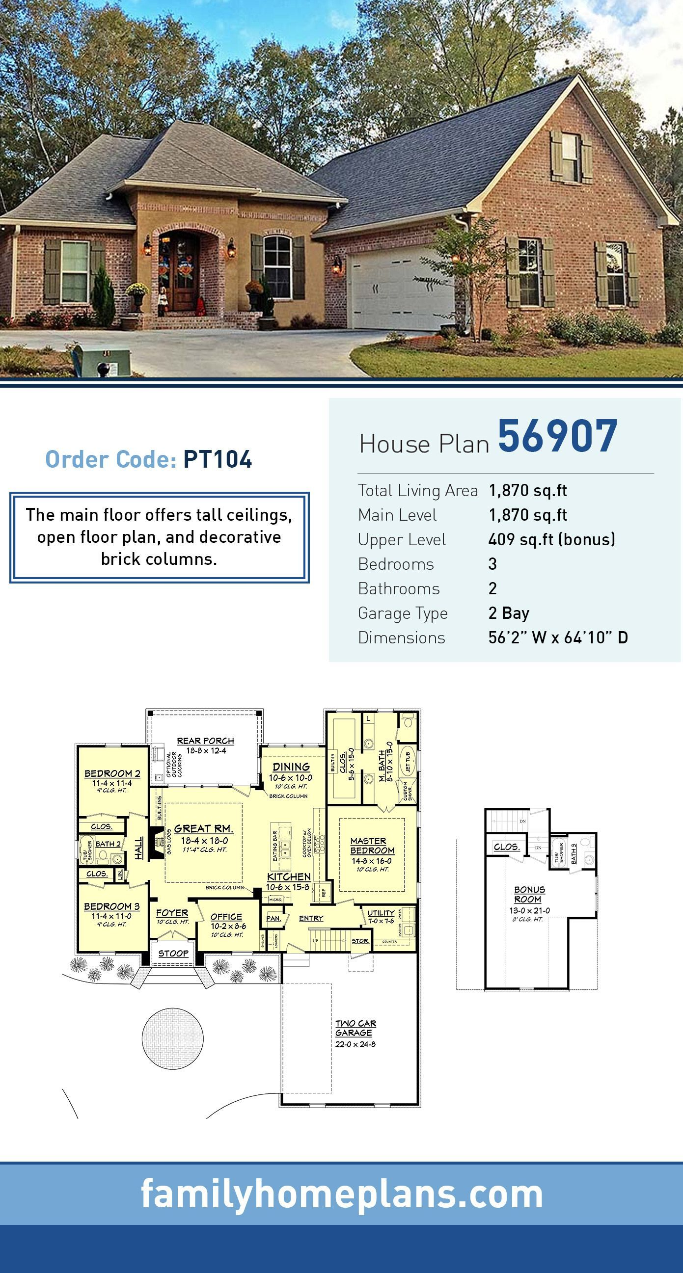 French country house plan total living area sq ft