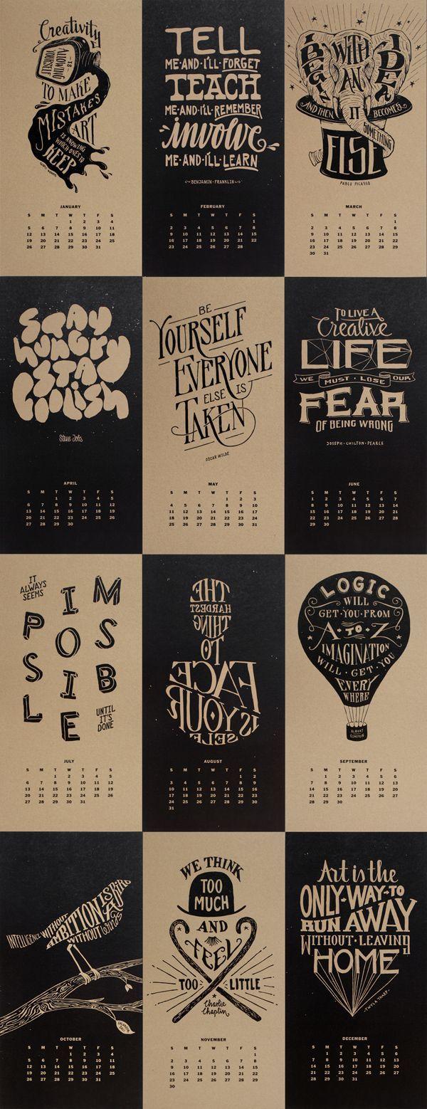 Typography Calendar Creative : Creativity typography calendar design