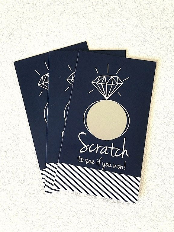 10 Blue Diamond Engagement or Bridal Shower Scratch Off Game Cards