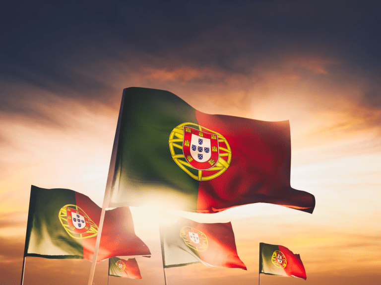 Portugal Flags Waving With Pride On A Sunny Day Portugal Flag Portugal Independence Day