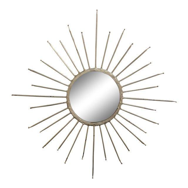 Mid-Century Modern Silver Starburst Mirror