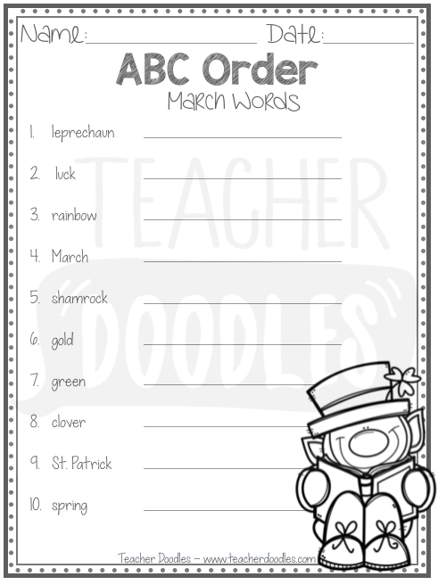 students will put march words in alphabetical order abc order
