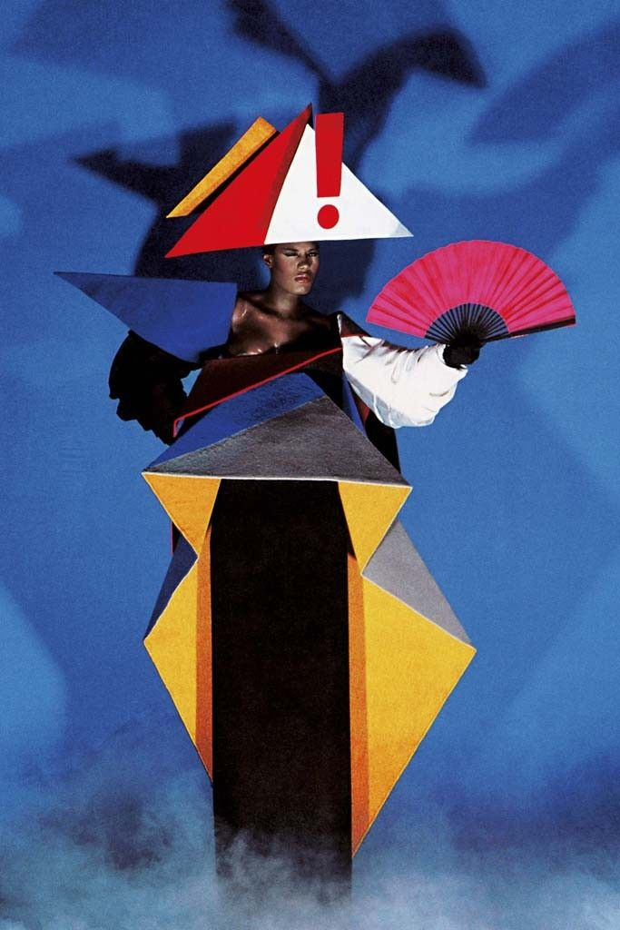 From Jean-Paul Goude's direction: Grace Jones in a constructivist maternity dress, in a Goude collaboration with Antonio Lopez, New York, 1979.
