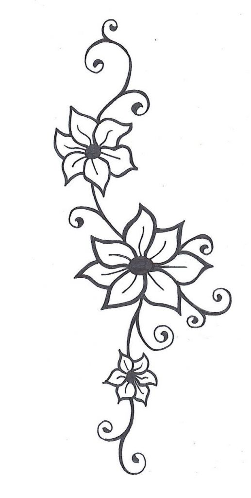 Flower With Vines Tattoo 1000 Ideas About Flower Vine Tattoos On Pinterest Tattoo Simple Flower Drawing Flower Vine Tattoos Jasmine Flower Tattoos