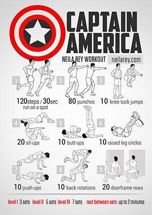 Visual Workouts By Neila Rey Superhero Workout Captain America Workout Neila Rey Workout