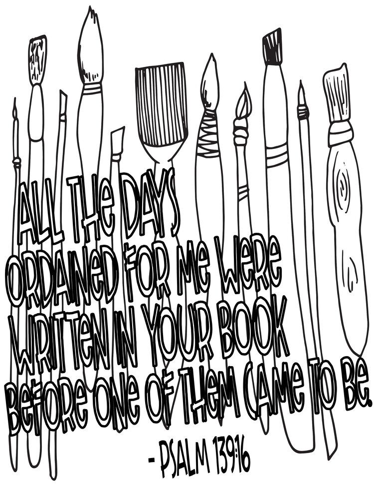 Paint Brushes Psalm 139 16 Free Coloring Page Free Coloring
