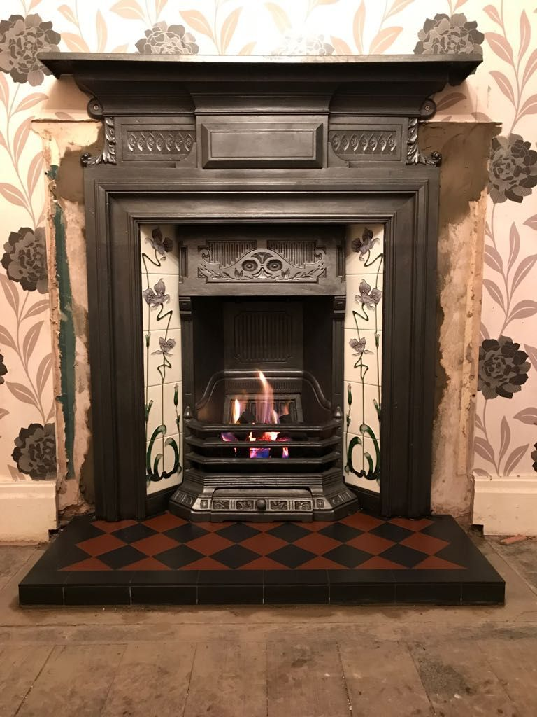 Beautiful Original Cast Iron Fireplace Complete With Gallery Jazz