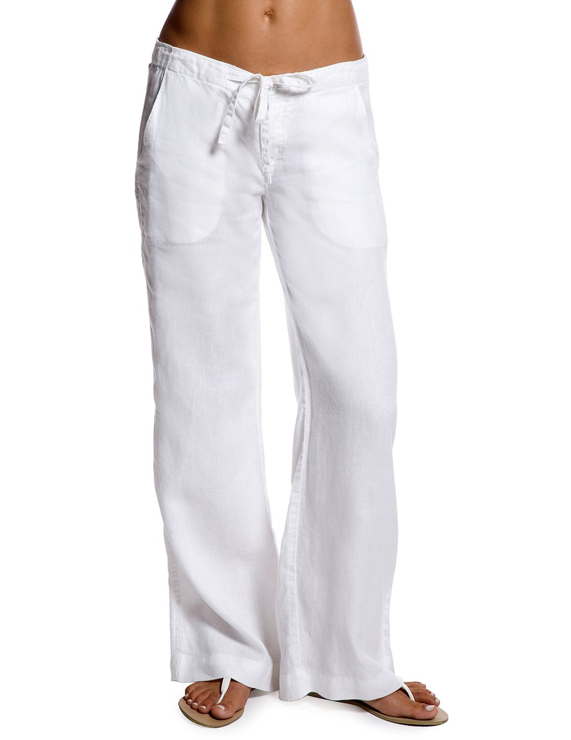 White Relaxed Linen Pants For Womens Resort Wear From Island