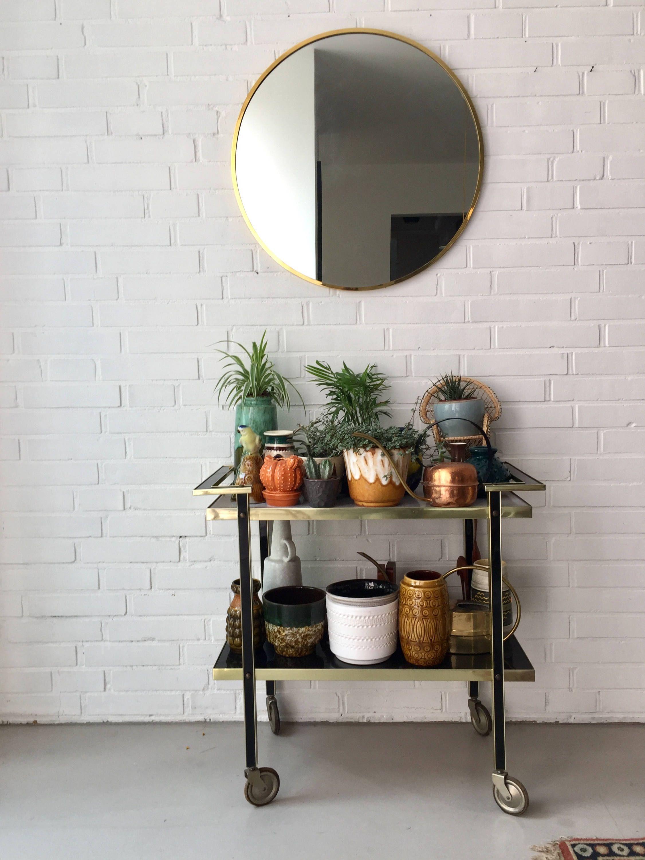 vintage runder spiegel mid century spiegel messing