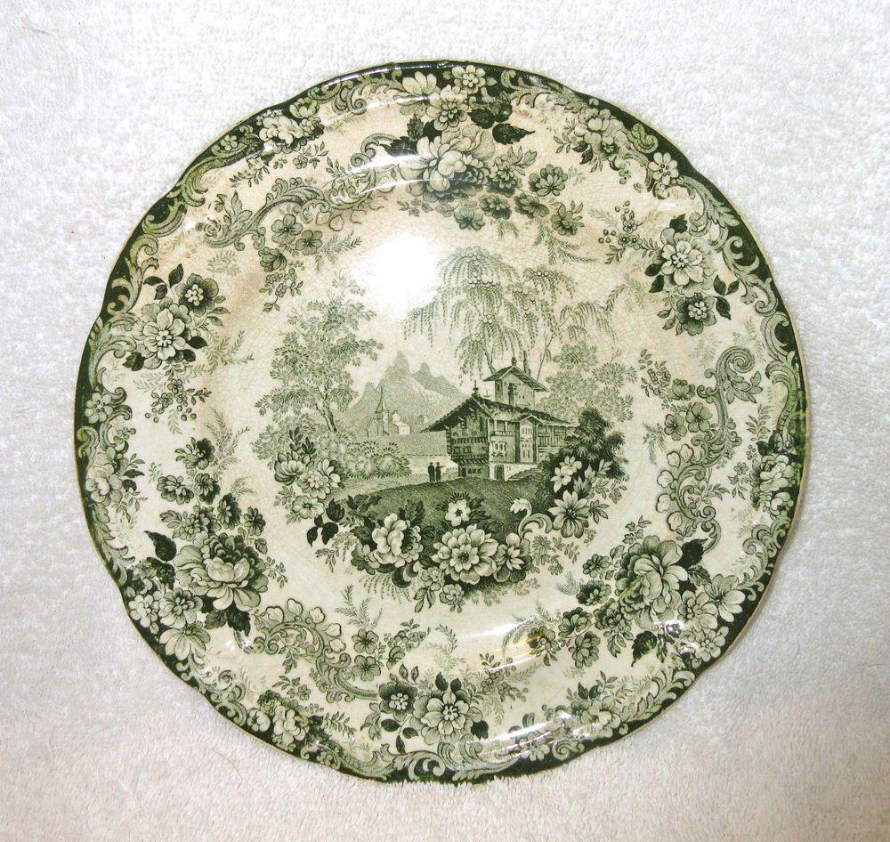 antique green transferware plateenglishtransferware on etsy