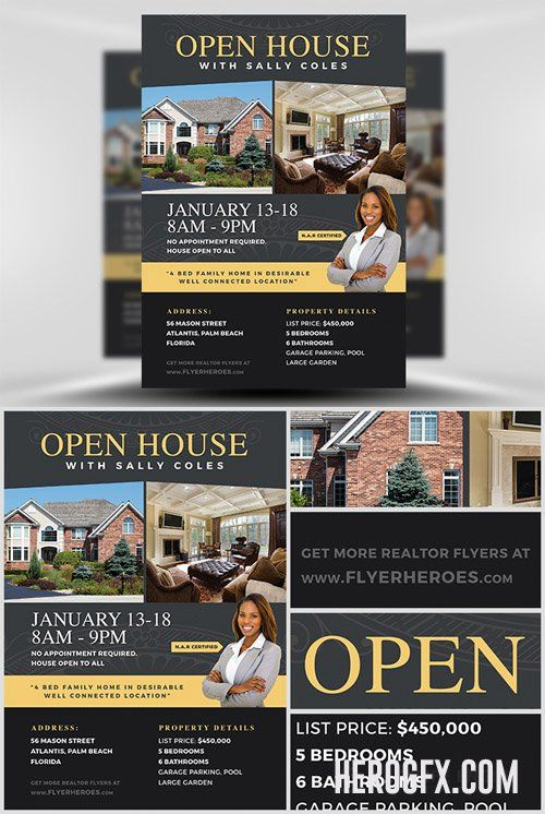 Flyer Template - Open House 2 Real estate Pinterest Flyer - open house flyer template