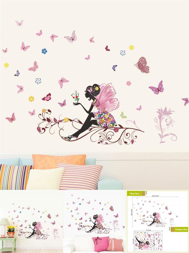 visit to buy beautiful girl butterfly flower art wall sticker for home decor diy